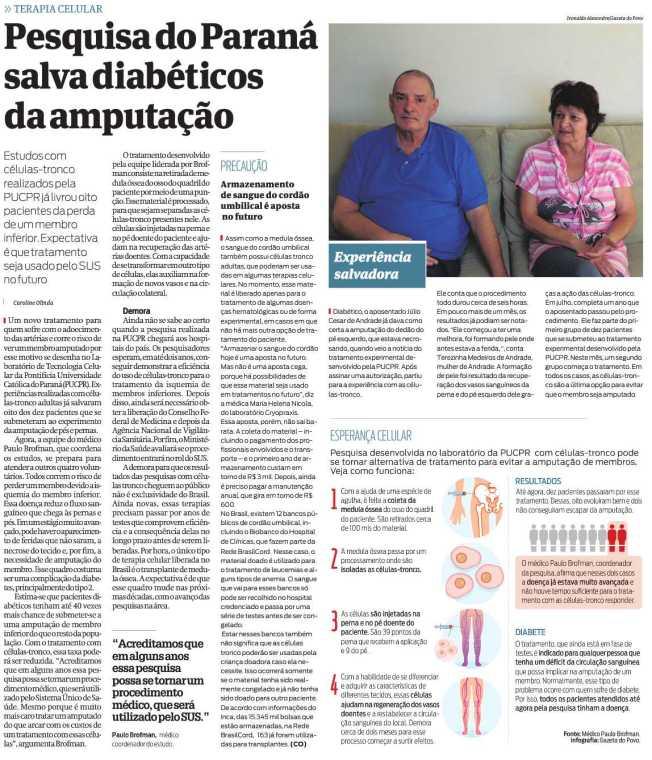Matéria da Gazeta do Povo publicada no dia 15 de junho, com chamada de capa.